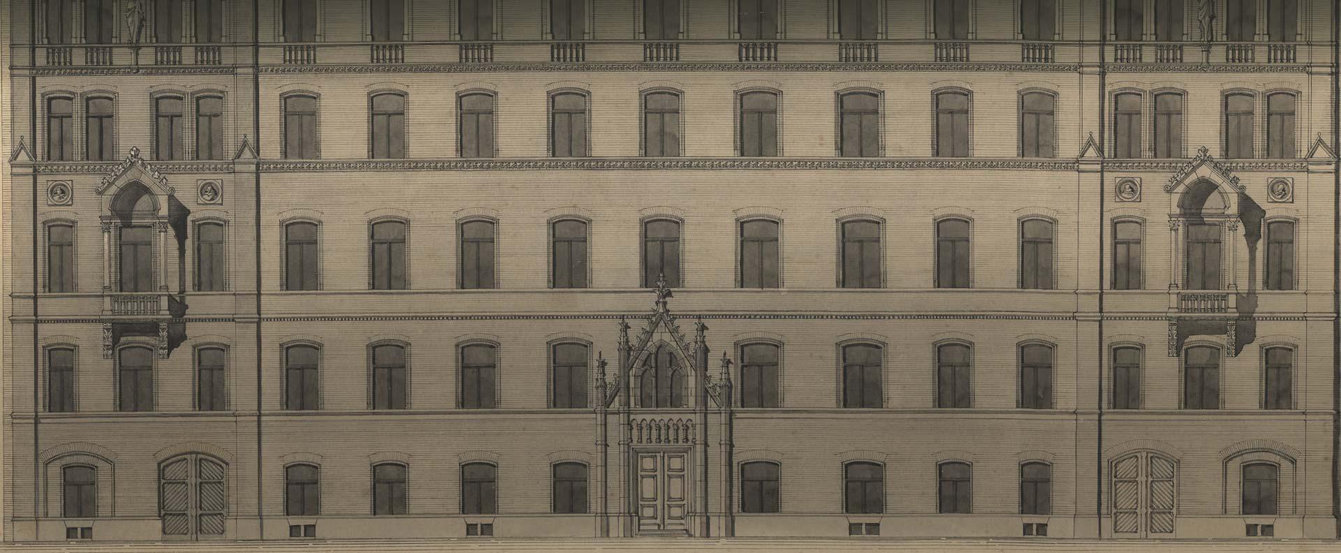 A Balassi Bálint utca 1-5. homlokzat eredeti látványrajza